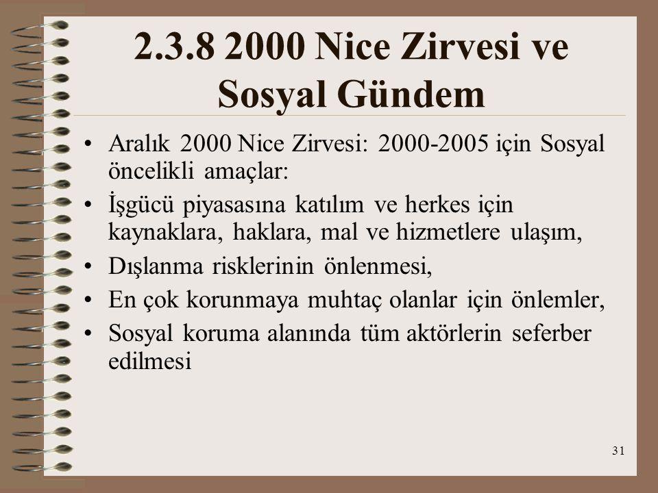 31 2.3.8 2000 Nice Zirvesi ve Sosyal Gündem Aralık 2000 Nice Zirvesi: 2000-2005 için Sosyal öncelikli amaçlar: İşgücü piyasasına katılım ve herkes içi