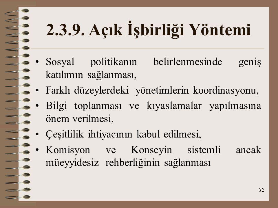 32 2.3.9. Açık İşbirliği Yöntemi Sosyal politikanın belirlenmesinde geniş katılımın sağlanması, Farklı düzeylerdeki yönetimlerin koordinasyonu, Bilgi