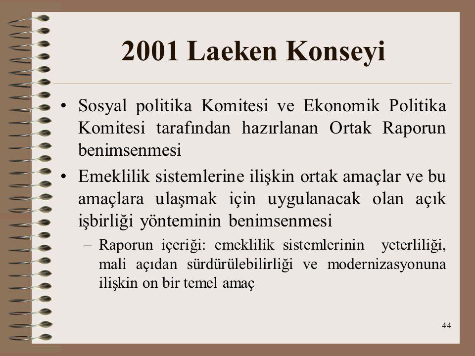 44 2001 Laeken Konseyi Sosyal politika Komitesi ve Ekonomik Politika Komitesi tarafından hazırlanan Ortak Raporun benimsenmesi Emeklilik sistemlerine