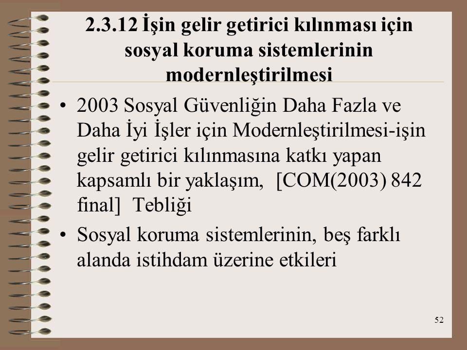 52 2.3.12 İşin gelir getirici kılınması için sosyal koruma sistemlerinin modernleştirilmesi 2003 Sosyal Güvenliğin Daha Fazla ve Daha İyi İşler için M