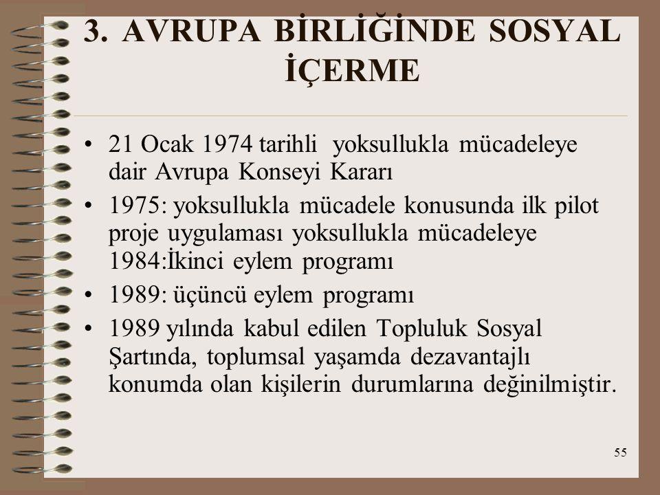 55 3. AVRUPA BİRLİĞİNDE SOSYAL İÇERME 21 Ocak 1974 tarihli yoksullukla mücadeleye dair Avrupa Konseyi Kararı 1975: yoksullukla mücadele konusunda ilk