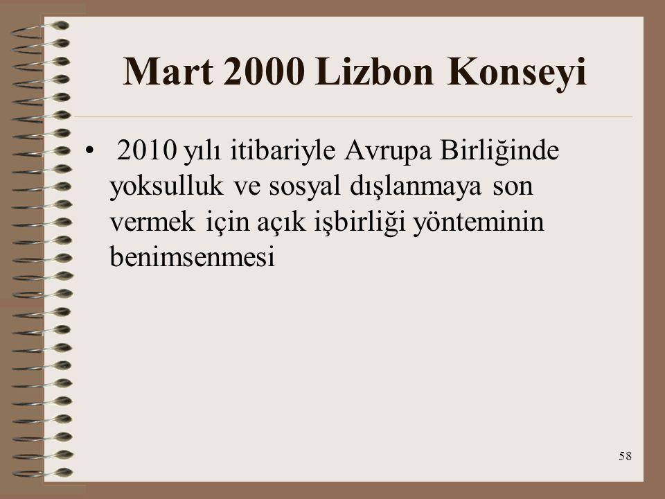58 Mart 2000 Lizbon Konseyi 2010 yılı itibariyle Avrupa Birliğinde yoksulluk ve sosyal dışlanmaya son vermek için açık işbirliği yönteminin benimsenme