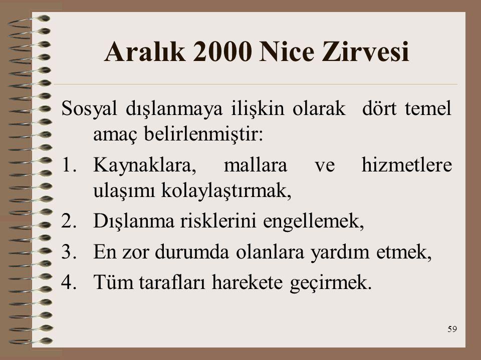 59 Aralık 2000 Nice Zirvesi Sosyal dışlanmaya ilişkin olarak dört temel amaç belirlenmiştir: 1.Kaynaklara, mallara ve hizmetlere ulaşımı kolaylaştırma
