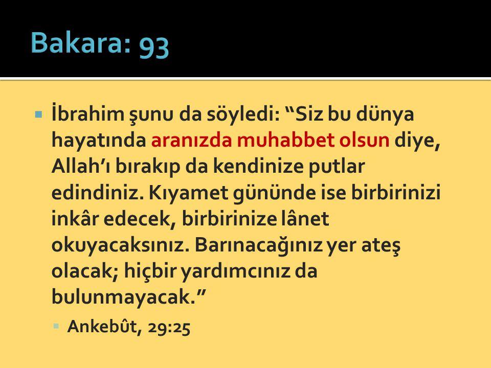  İbrahim şunu da söyledi: Siz bu dünya hayatında aranızda muhabbet olsun diye, Allah'ı bırakıp da kendinize putlar edindiniz.