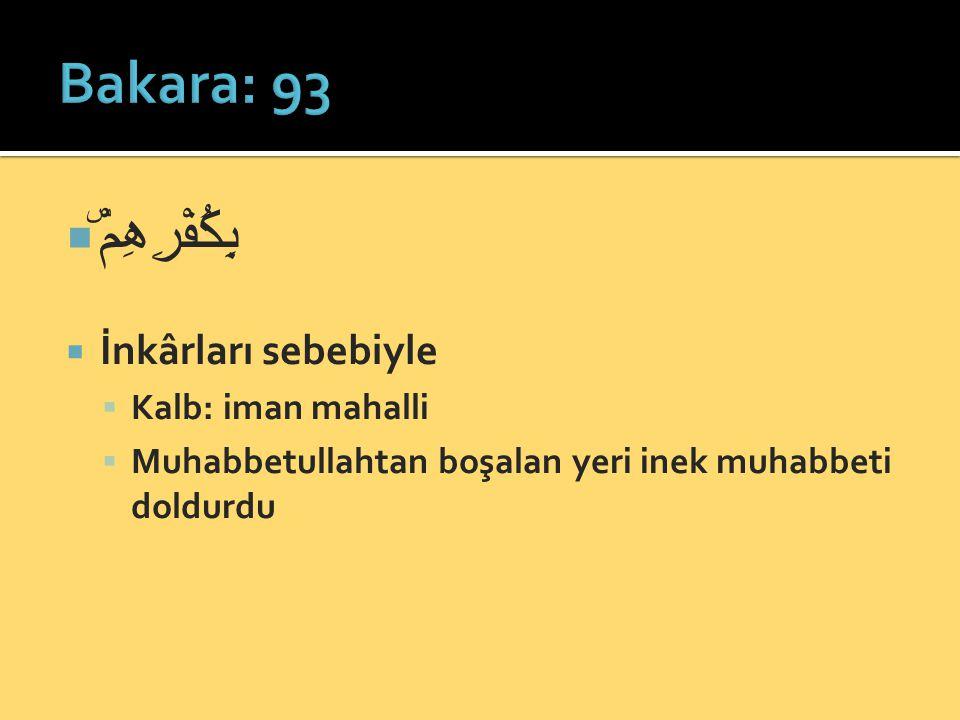  بِكُفْرِهِمْۜ  İnkârları sebebiyle  Kalb: iman mahalli  Muhabbetullahtan boşalan yeri inek muhabbeti doldurdu