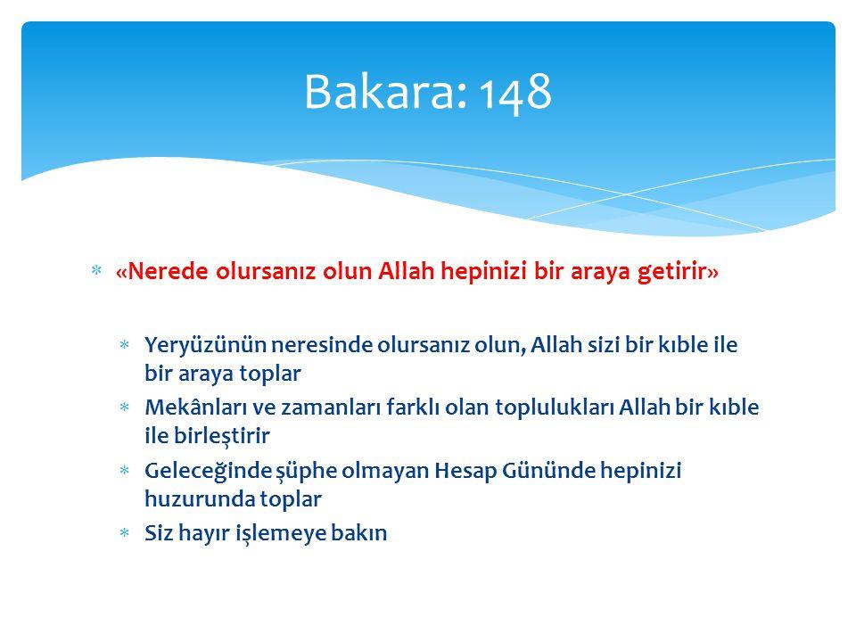  «Nerede olursanız olun Allah hepinizi bir araya getirir»  Yeryüzünün neresinde olursanız olun, Allah sizi bir kıble ile bir araya toplar  Mekânlar
