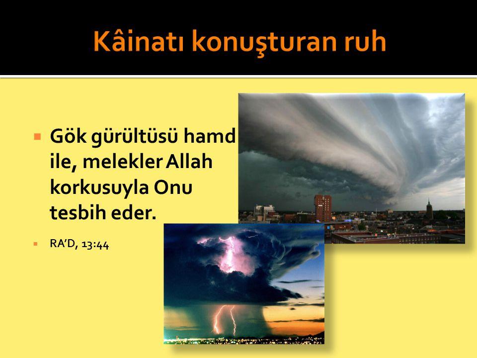  Gök gürültüsü hamd ile, melekler Allah korkusuyla Onu tesbih eder.  RA'D, 13:44