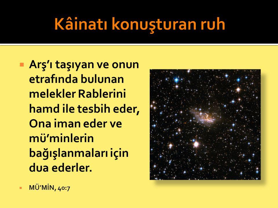  Arş'ı taşıyan ve onun etrafında bulunan melekler Rablerini hamd ile tesbih eder, Ona iman eder ve mü'minlerin bağışlanmaları için dua ederler.