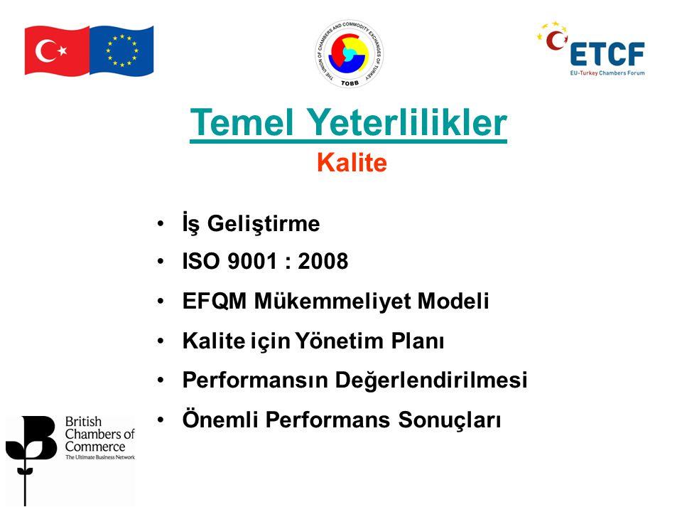 Temel Yeterlilikler Kalite İş Geliştirme ISO 9001 : 2008 EFQM Mükemmeliyet Modeli Kalite için Yönetim Planı Performansın Değerlendirilmesi Önemli Perf
