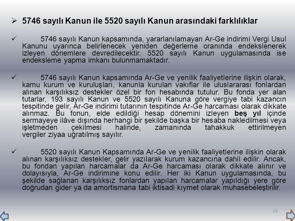  5746 sayılı Kanun ile 5520 sayılı Kanun arasındaki farklılıklar 5746 sayılı Kanun kapsamında, yararlanılamayan Ar-Ge indirimi Vergi Usul Kanunu uyar