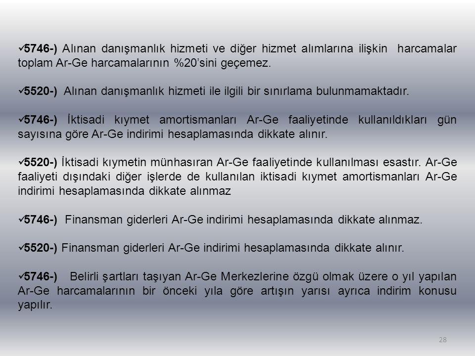 28 5746-) Alınan danışmanlık hizmeti ve diğer hizmet alımlarına ilişkin harcamalar toplam Ar-Ge harcamalarının %20'sini geçemez. 5520-) Alınan danışma