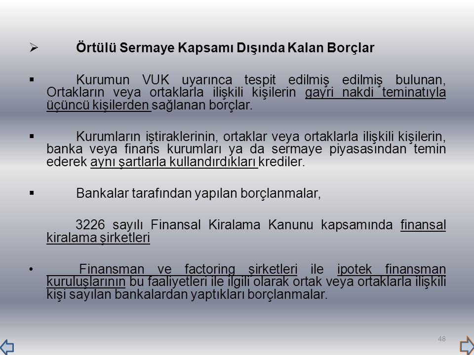  Örtülü Sermaye Kapsamı Dışında Kalan Borçlar  Kurumun VUK uyarınca tespit edilmiş edilmiş bulunan, Ortakların veya ortaklarla ilişkili kişilerin ga