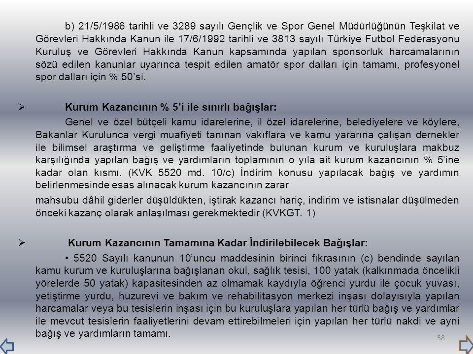 b) 21/5/1986 tarihli ve 3289 sayılı Gençlik ve Spor Genel Müdürlüğünün Teşkilat ve Görevleri Hakkında Kanun ile 17/6/1992 tarihli ve 3813 sayılı Türki