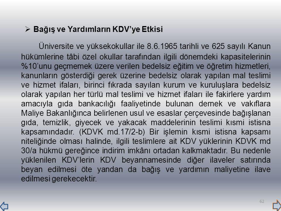  Bağış ve Yardımların KDV'ye Etkisi Üniversite ve yüksekokullar ile 8.6.1965 tarihli ve 625 sayılı Kanun hükümlerine tâbi özel okullar tarafından ilg