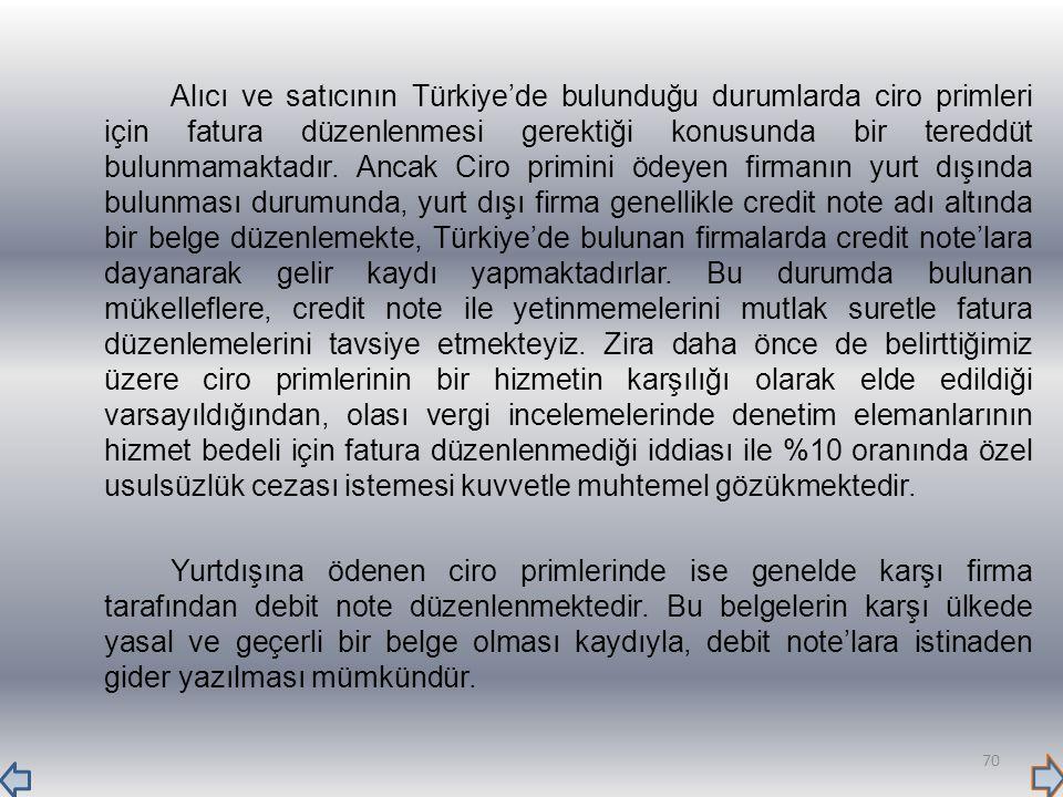 Alıcı ve satıcının Türkiye'de bulunduğu durumlarda ciro primleri için fatura düzenlenmesi gerektiği konusunda bir tereddüt bulunmamaktadır. Ancak Ciro