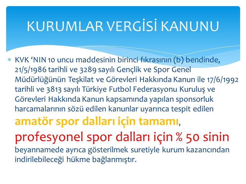  KVK 'NIN 10 uncu maddesinin birinci fıkrasının (b) bendinde, 21/5/1986 tarihli ve 3289 sayılı Gençlik ve Spor Genel Müdürlüğünün Teşkilat ve Görevle
