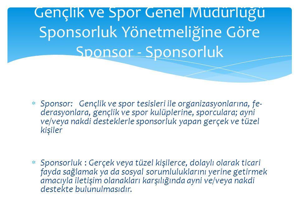  Sponsor: Gençlik ve spor tesisleri ile organizasyonlarına, fe derasyonlara, gençlik ve spor kulüplerine, sporculara; ayni v
