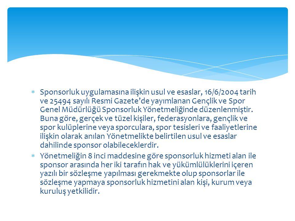  Sponsorluk uygulamasına ilişkin usul ve esaslar, 16/6/2004 tarih ve 25494 sayılı Resmi Gazete'de yayımlanan Gençlik ve Spor Genel Müdürlüğü Sponsorl