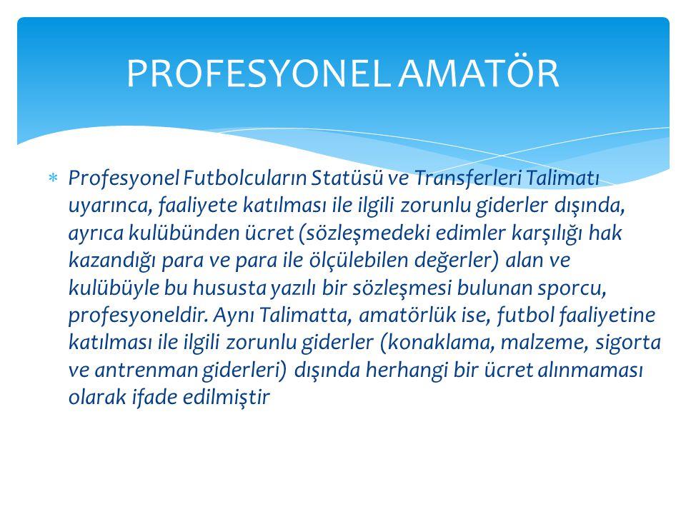  Profesyonel Futbolcuların Statüsü ve Transferleri Talimatı uyarınca, faaliyete katılması ile ilgili zorunlu giderler dışında, ayrıca kulübünden ücre