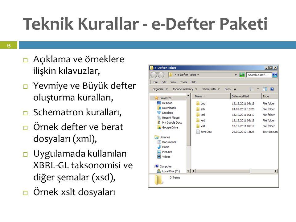 Teknik Kurallar - e-Defter Paketi  Açıklama ve örneklere ilişkin kılavuzlar,  Yevmiye ve Büyük defter oluşturma kuralları,  Schematron kuralları,  Örnek defter ve berat dosyaları (xml),  Uygulamada kullanılan XBRL-GL taksonomisi ve diğer şemalar (xsd),  Örnek xslt dosyaları 15