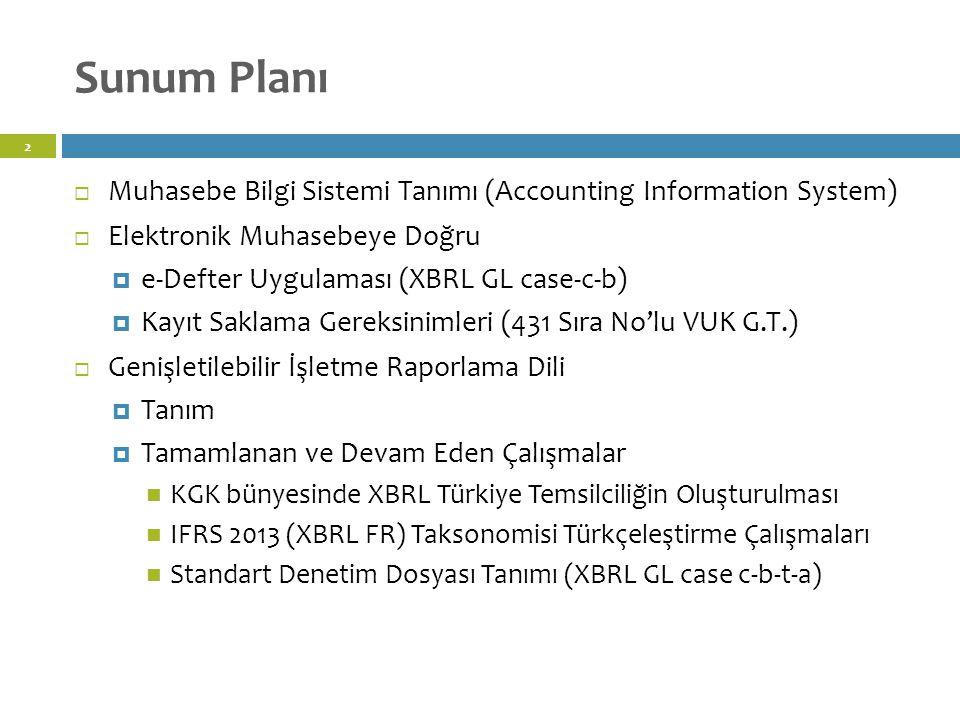Sunum Planı 2  Muhasebe Bilgi Sistemi Tanımı (Accounting Information System)  Elektronik Muhasebeye Doğru  e-Defter Uygulaması (XBRL GL case-c-b)  Kayıt Saklama Gereksinimleri (431 Sıra No'lu VUK G.T.)  Genişletilebilir İşletme Raporlama Dili  Tanım  Tamamlanan ve Devam Eden Çalışmalar KGK bünyesinde XBRL Türkiye Temsilciliğin Oluşturulması IFRS 2013 (XBRL FR) Taksonomisi Türkçeleştirme Çalışmaları Standart Denetim Dosyası Tanımı (XBRL GL case c-b-t-a)