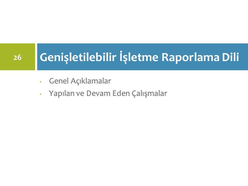 Genel Açıklamalar Yapılan ve Devam Eden Çalışmalar Genişletilebilir İşletme Raporlama Dili 26