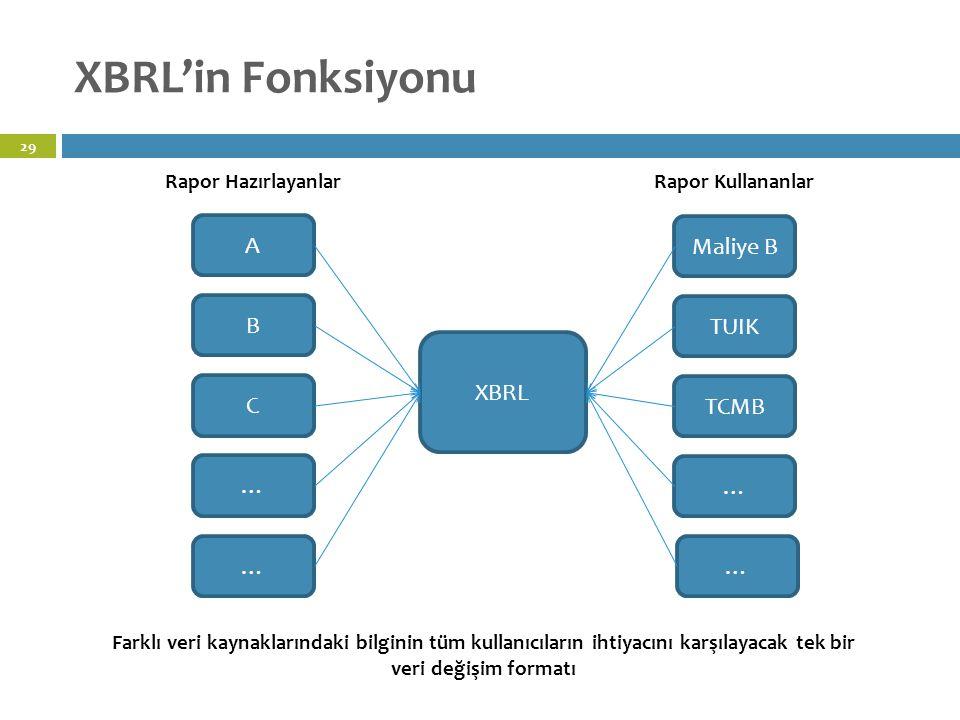 XBRL'in Fonksiyonu 29 A Maliye B TUIK TCMB … … B C … … Rapor HazırlayanlarRapor Kullananlar XBRL Farklı veri kaynaklarındaki bilginin tüm kullanıcıların ihtiyacını karşılayacak tek bir veri değişim formatı
