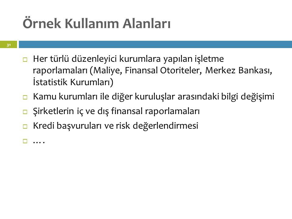 Örnek Kullanım Alanları 31  Her türlü düzenleyici kurumlara yapılan işletme raporlamaları (Maliye, Finansal Otoriteler, Merkez Bankası, İstatistik Kurumları)  Kamu kurumları ile diğer kuruluşlar arasındaki bilgi değişimi  Şirketlerin iç ve dış finansal raporlamaları  Kredi başvuruları ve risk değerlendirmesi  ….