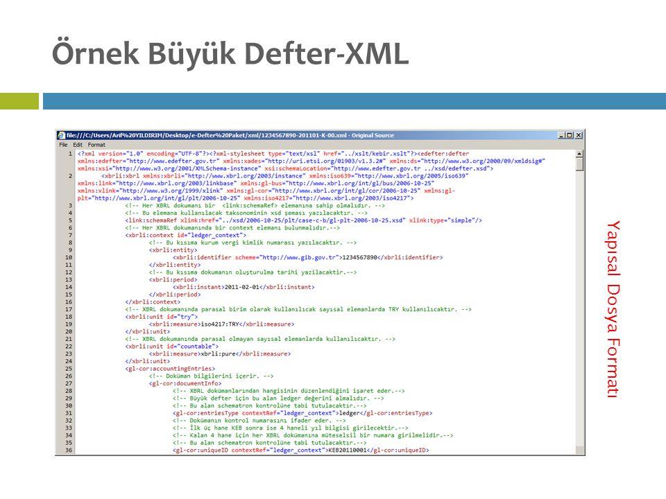 Örnek Büyük Defter-XML Yapısal Dosya Formatı