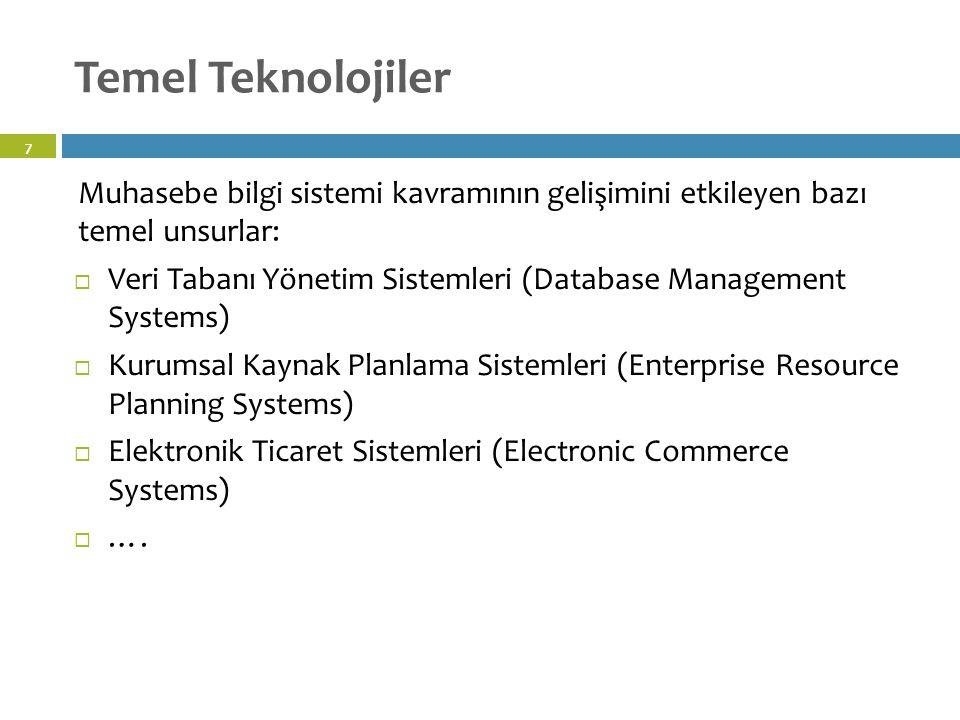 Temel Teknolojiler 58 Muhasebe bilgi sistemi kavramının gelişimini etkileyen bazı temel unsurlar:  Veri Tabanı Yönetim Sistemleri (Database Management Systems)  Kurumsal Kaynak Planlama Sistemleri (Enterprise Resource Planning Systems)  Elektronik Ticaret Sistemleri (Electronic Commerce Systems)  ….