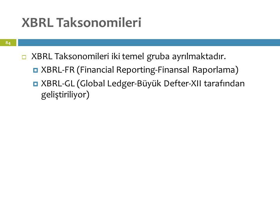 XBRL Taksonomileri 84  XBRL Taksonomileri iki temel gruba ayrılmaktadır.