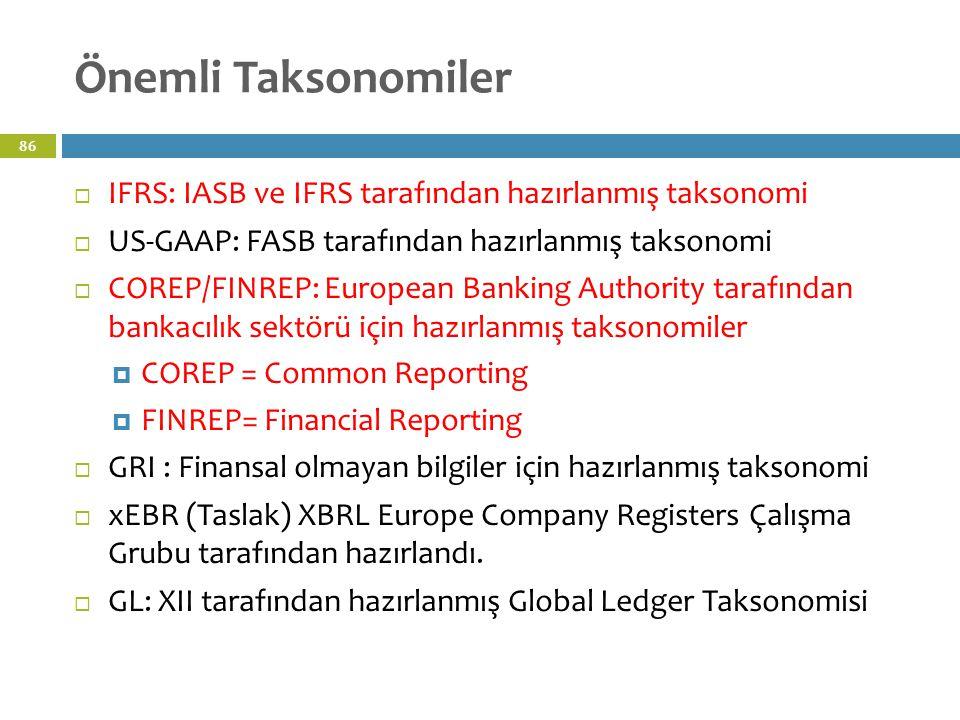 Önemli Taksonomiler 86  IFRS: IASB ve IFRS tarafından hazırlanmış taksonomi  US-GAAP: FASB tarafından hazırlanmış taksonomi  COREP/FINREP: European Banking Authority tarafından bankacılık sektörü için hazırlanmış taksonomiler  COREP = Common Reporting  FINREP= Financial Reporting  GRI : Finansal olmayan bilgiler için hazırlanmış taksonomi  xEBR (Taslak) XBRL Europe Company Registers Çalışma Grubu tarafından hazırlandı.