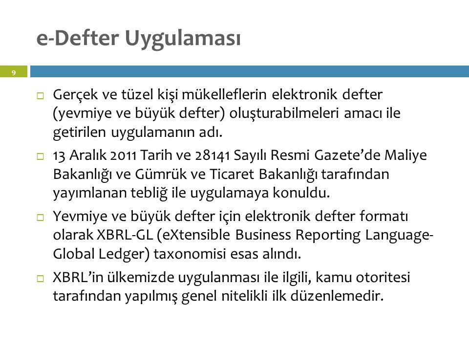Elektronik Defter - Tanım 10 Şekil hükümlerinden bağımsız olarak Vergi Usul Kanununa ve/veya Türk Ticaret Kanununa göre tutulması zorunlu olan defterlerde yer alması gereken bilgileri kapsayan elektronik kayıtlar bütünüdür.