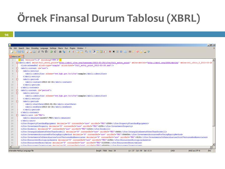 Örnek Finansal Durum Tablosu (XBRL) 94