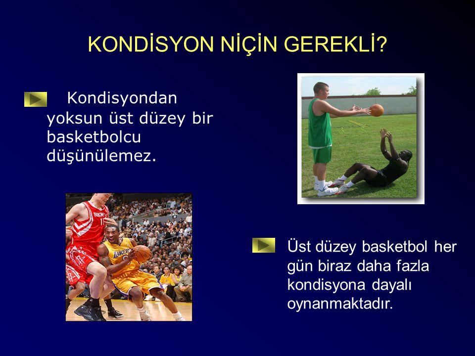 KONDİSYON NİÇİN GEREKLİ? Kondisyondan yoksun üst düzey bir basketbolcu düşünülemez. Üst düzey basketbol her gün biraz daha fazla kondisyona dayalı oyn