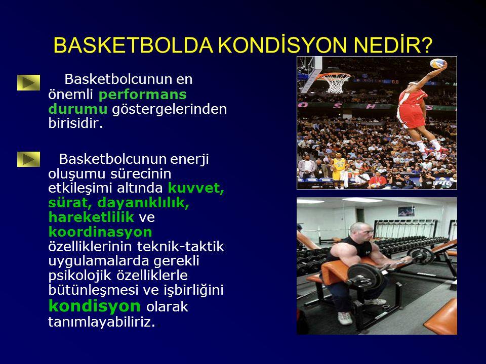 BASKETBOLDA KONDİSYON NEDİR? Basketbolcunun en önemli performans durumu göstergelerinden birisidir. Basketbolcunun enerji oluşumu sürecinin etkileşimi