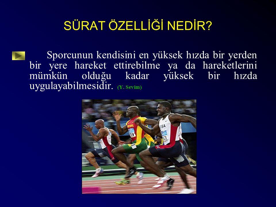 SÜRAT ÖZELLİĞİ NEDİR? Sporcunun kendisini en yüksek hızda bir yerden bir yere hareket ettirebilme ya da hareketlerini mümkün olduğu kadar yüksek bir h