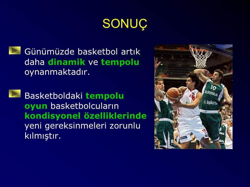 SONUÇ Günümüzde basketbol artık daha dinamik ve tempolu oynanmaktadır. Basketboldaki tempolu oyun basketbolcuların kondisyonel özelliklerinde yeni ger