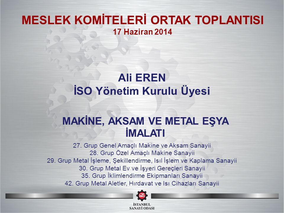 SI MESLEK KOMİTELERİ ORTAK TOPLANTISI Ali EREN İSO Yönetim Kurulu Üyesi 27.