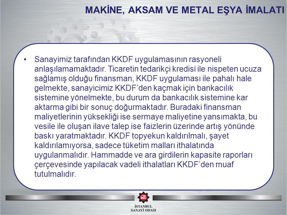 MAKİNE, AKSAM VE METAL EŞYA İMALATI Sanayimiz tarafından KKDF uygulamasının rasyoneli anlaşılamamaktadır.