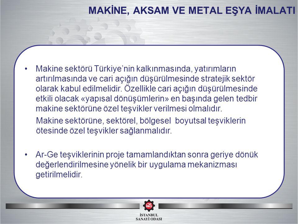 MAKİNE, AKSAM VE METAL EŞYA İMALATI Makine sektörü Türkiye'nin kalkınmasında, yatırımların artırılmasında ve cari açığın düşürülmesinde stratejik sektör olarak kabul edilmelidir.