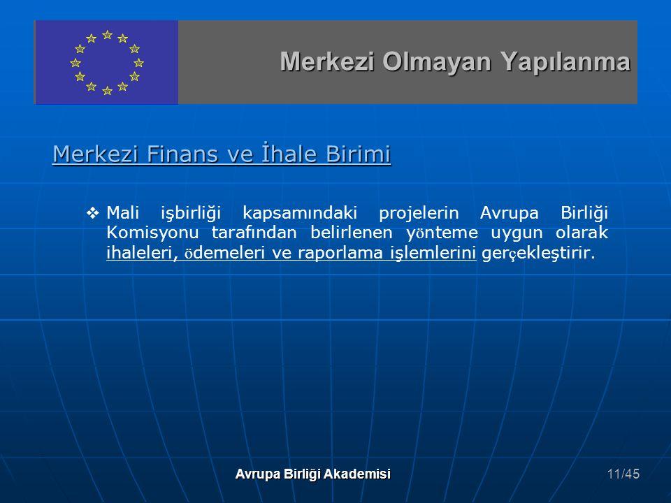Merkezi Finans ve İhale Birimi   Mali işbirliği kapsamındaki projelerin Avrupa Birliği Komisyonu tarafından belirlenen y ö nteme uygun olarak ihalel