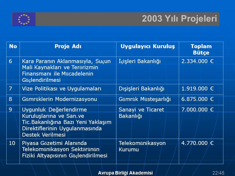 2003 Yılı Projeleri Avrupa Birliği Akademisi NoProje AdıUygulayıcı KuruluşToplam Bütçe 6Kara Paranın Aklanmasıyla, Su ç un Mali Kaynakları ve Ter ö ri