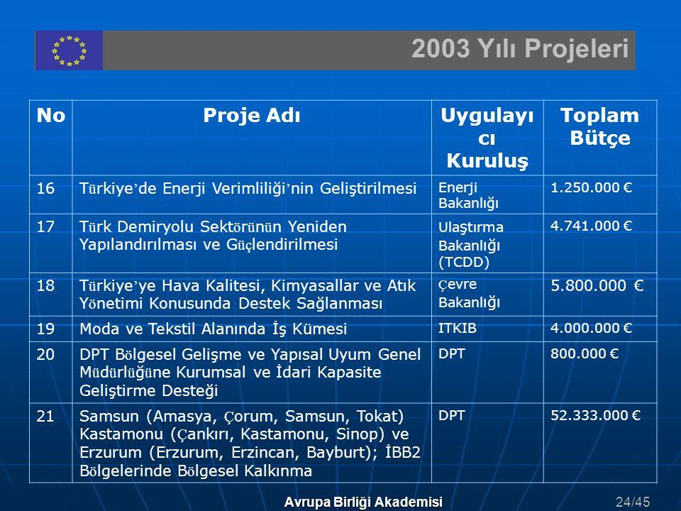 2003 Yılı Projeleri Avrupa Birliği Akademisi NoProje AdıUygulayı cı Kuruluş Toplam Bütçe 16T ü rkiye ' de Enerji Verimliliği ' nin Geliştirilmesi Ener