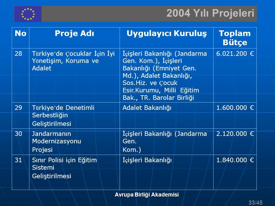 2004 Yılı Projeleri Avrupa Birliği Akademisi NoProje AdıUygulayıcı KuruluşToplam Bütçe 28T ü rkiye ' de Ç ocuklar İ ç in İyi Y ö netişim, Koruma ve Ad