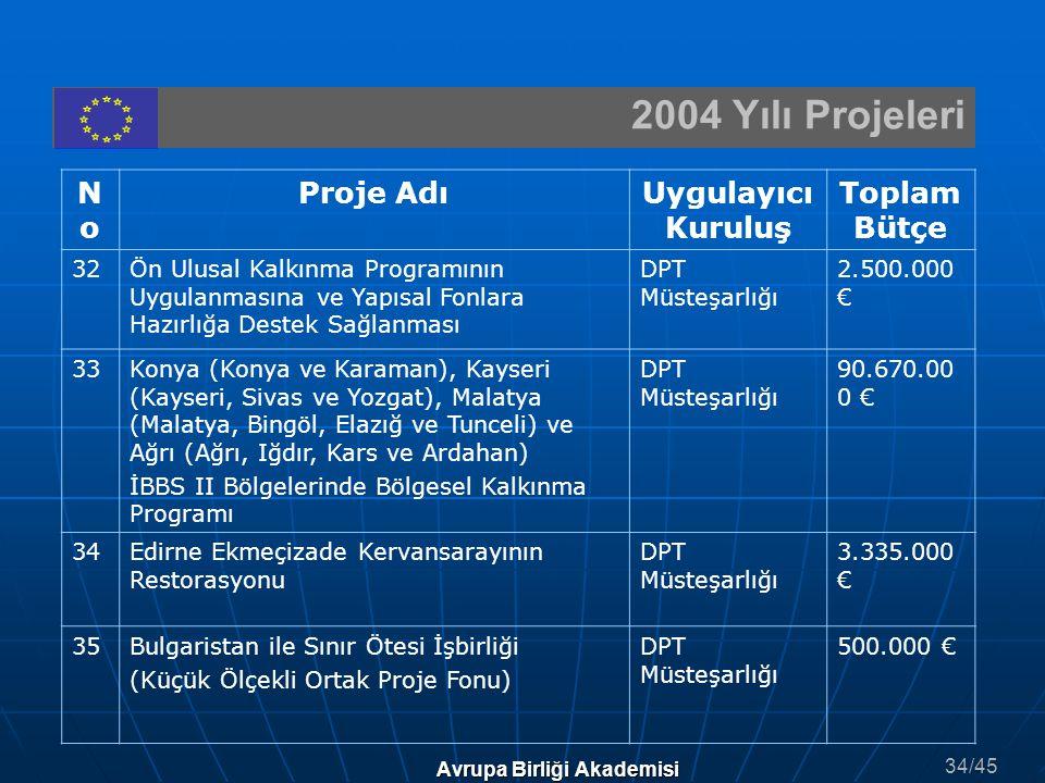 2004 Yılı Projeleri Avrupa Birliği Akademisi NoNo Proje AdıUygulayıcı Kuruluş Toplam Bütçe 32Ön Ulusal Kalkınma Programının Uygulanmasına ve Yapısal F