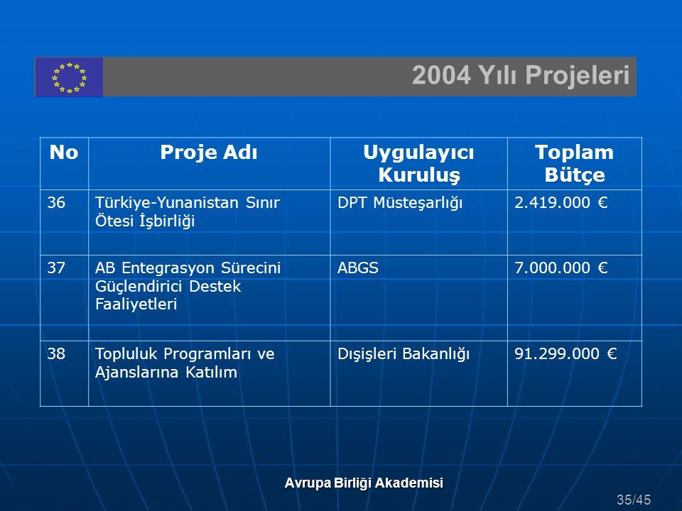 2004 Yılı Projeleri Avrupa Birliği Akademisi NoProje AdıUygulayıcı Kuruluş Toplam Bütçe 36Türkiye-Yunanistan Sınır Ötesi İşbirliği DPT Müsteşarlığı2.4