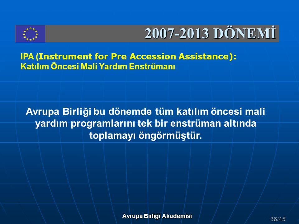 2007-2013 DÖNEMİ IPA ( Instrument for Pre Accession Assistance): Katılım Öncesi Mali Yardım Enstrümanı Avrupa Birliği bu dönemde tüm katılım öncesi ma