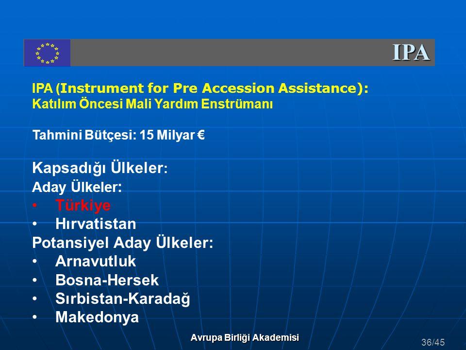 IPA IPA ( Instrument for Pre Accession Assistance): Katılım Öncesi Mali Yardım Enstrümanı Tahmini Bütçesi: 15 Milyar € Kapsadığı Ülkeler : Aday Ülkele