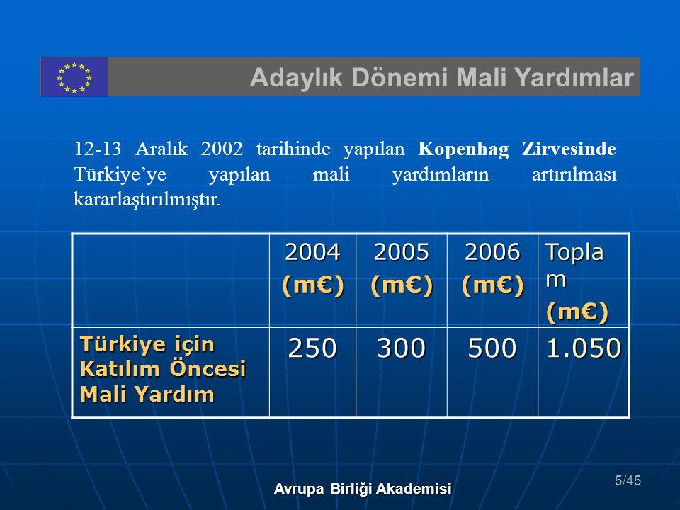 Adaylık Dönemi Mali Yardımlar 12-13 Aralık 2002 tarihinde yapılan Kopenhag Zirvesinde Türkiye'ye yapılan mali yardımların artırılması kararlaştırılmış